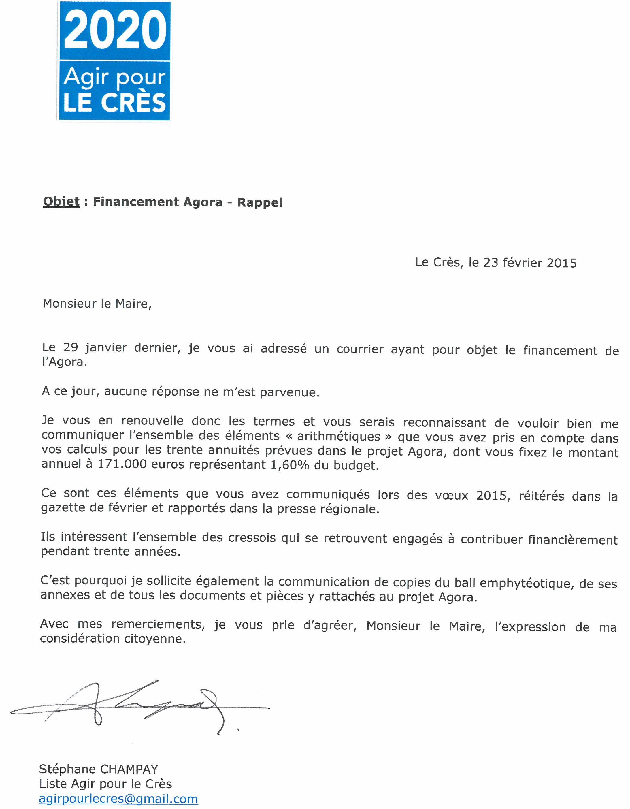 lettre pour monsieur le maire